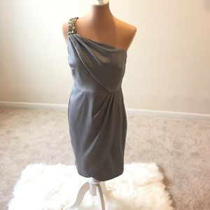 One shoulder jeweled wrapped front midi dress
